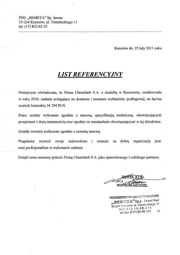 List Referencyjny: Bemeta