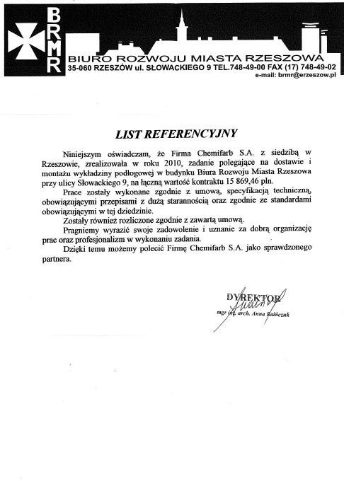 List Referencyjny: biuro rozwoju miasta rzeszowa