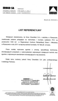 List Referencyjny: Erbud