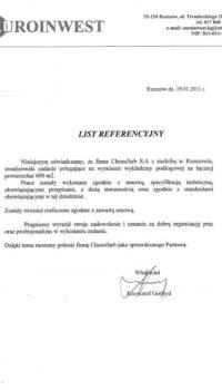 List Referencyjny: Euroinwest