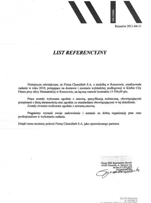 List Referencyjny: firma WID