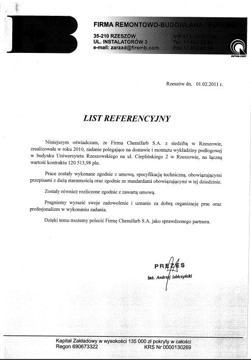 List Referencyjny: frb-firemb