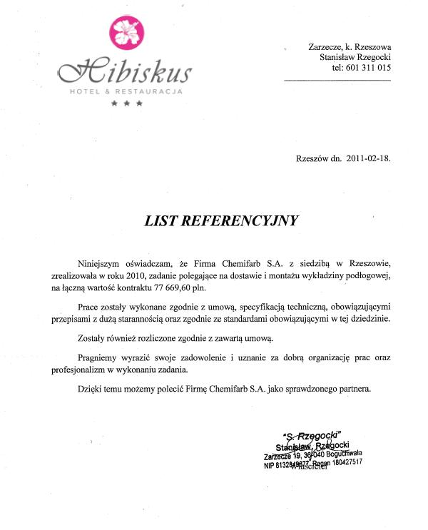 List Referencyjny: Hotel Hibiskus