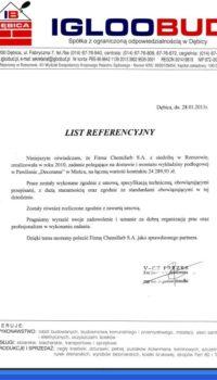 List Referencyjny: Igloobud