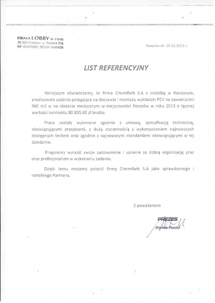 List Referencyjny: lobby