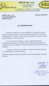 List Referencyjny: SZiK